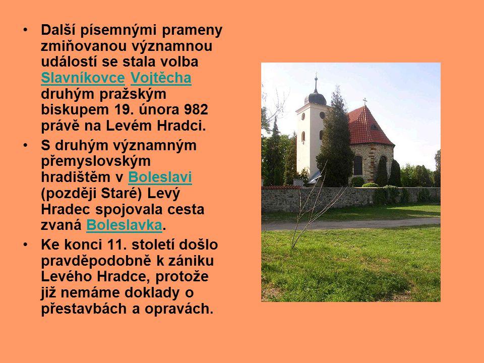 Další písemnými prameny zmiňovanou významnou událostí se stala volba Slavníkovce Vojtěcha druhým pražským biskupem 19. února 982 právě na Levém Hradci.