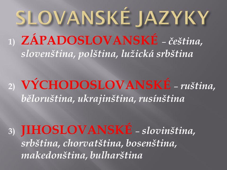 SLOVANSKÉ JAZYKY ZÁPADOSLOVANSKÉ – čeština, slovenština, polština, lužická srbština.