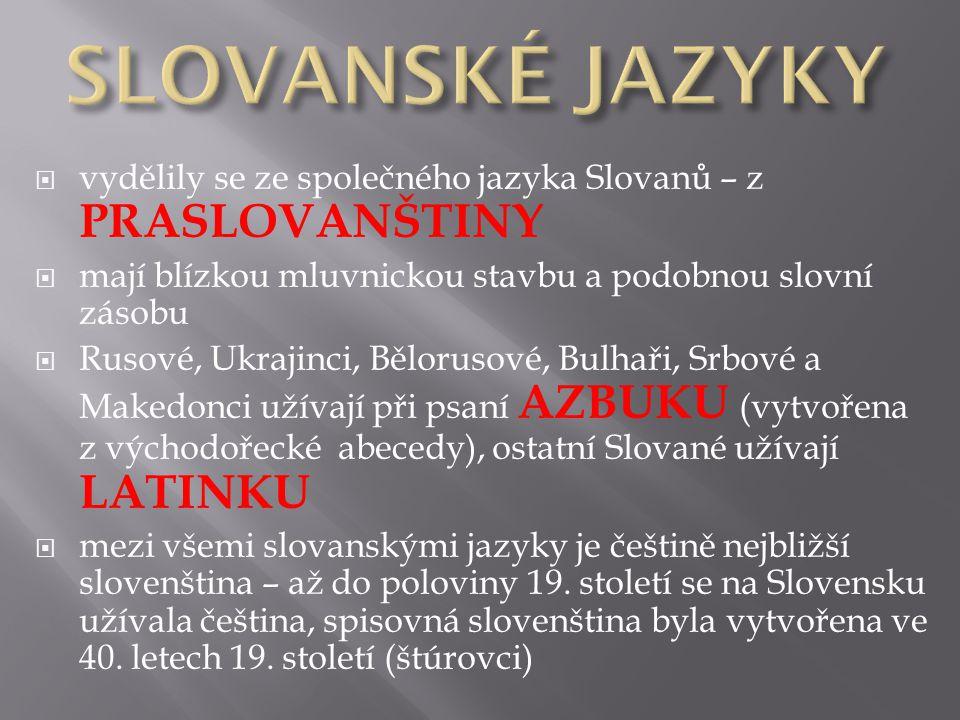 SLOVANSKÉ JAZYKY vydělily se ze společného jazyka Slovanů – z PRASLOVANŠTINY. mají blízkou mluvnickou stavbu a podobnou slovní zásobu.