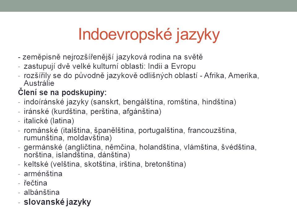 Indoevropské jazyky slovanské jazyky