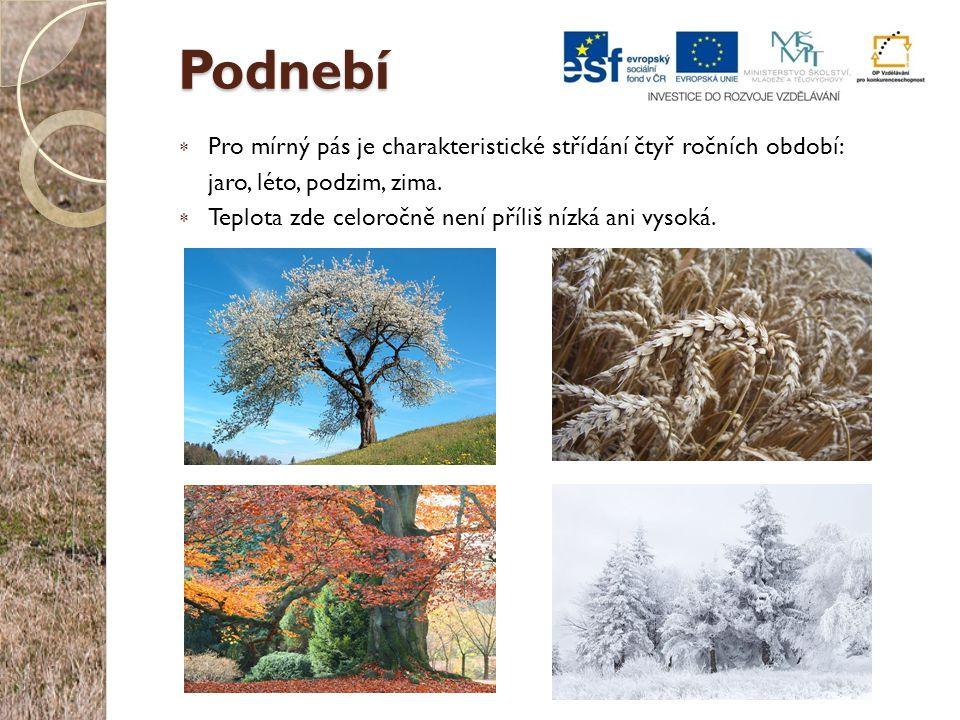 Podnebí Pro mírný pás je charakteristické střídání čtyř ročních období: jaro, léto, podzim, zima.