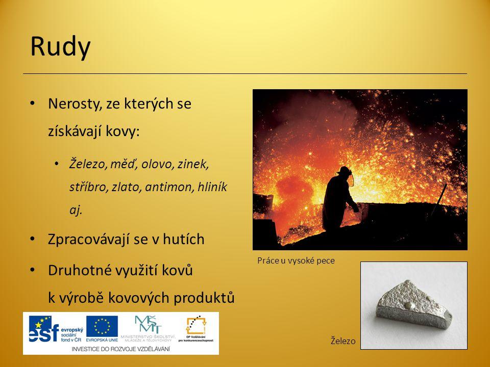Rudy Nerosty, ze kterých se získávají kovy: Zpracovávají se v hutích