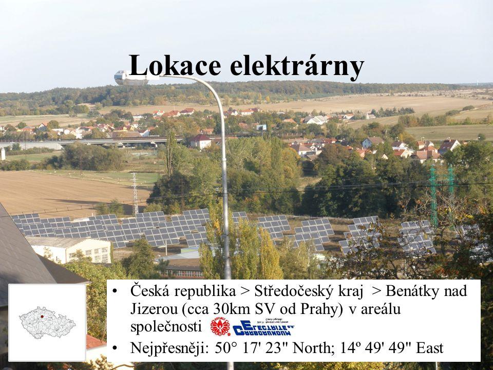 Lokace elektrárny Česká republika > Středočeský kraj > Benátky nad Jizerou (cca 30km SV od Prahy) v areálu společnosti.