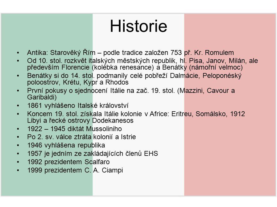 Historie Antika: Starověký Řím – podle tradice založen 753 př. Kr. Romulem.