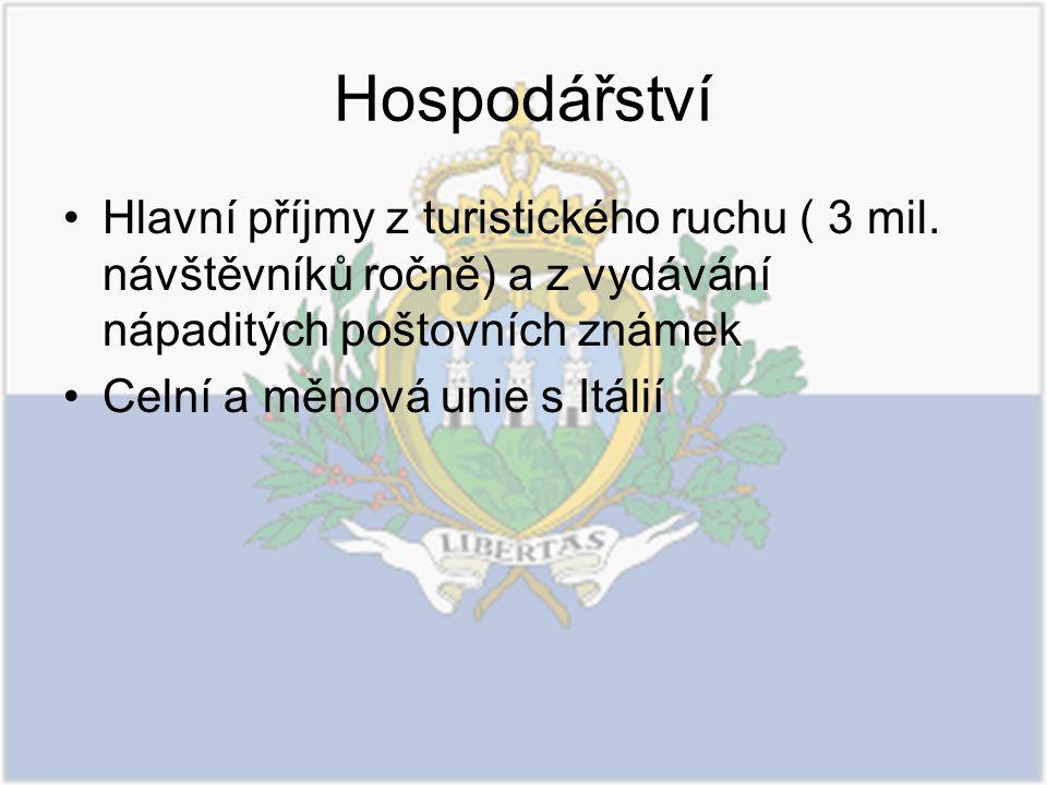 Hospodářství Hlavní příjmy z turistického ruchu ( 3 mil. návštěvníků ročně) a z vydávání nápaditých poštovních známek.