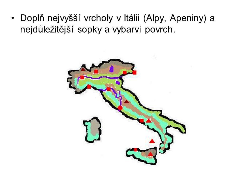 Doplň nejvyšší vrcholy v Itálii (Alpy, Apeniny) a nejdůležitější sopky a vybarvi povrch.