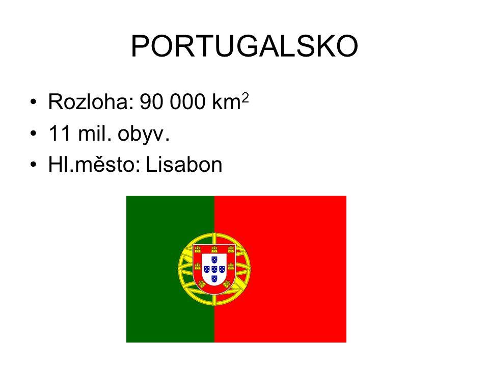 PORTUGALSKO Rozloha: 90 000 km2 11 mil. obyv. Hl.město: Lisabon