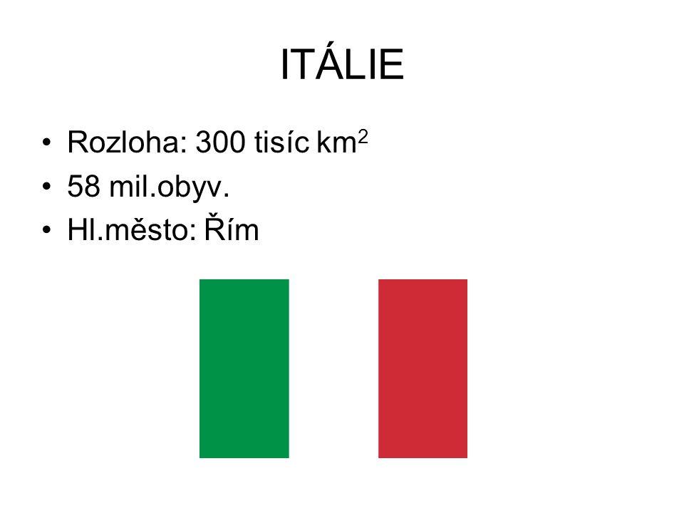ITÁLIE Rozloha: 300 tisíc km2 58 mil.obyv. Hl.město: Řím