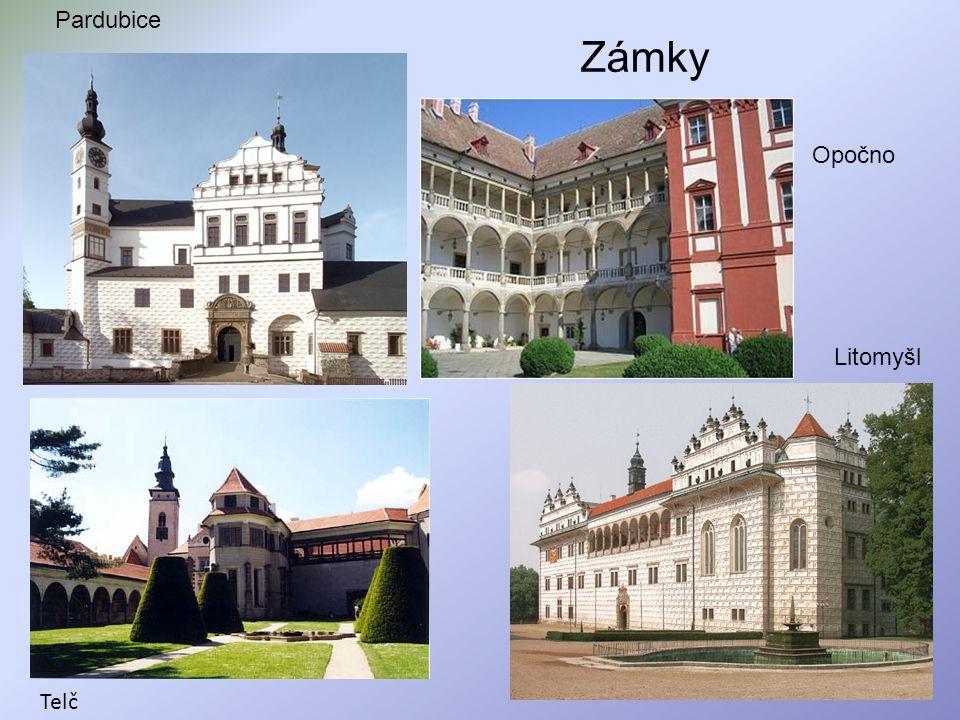 Pardubice Zámky Opočno Litomyšl Telč