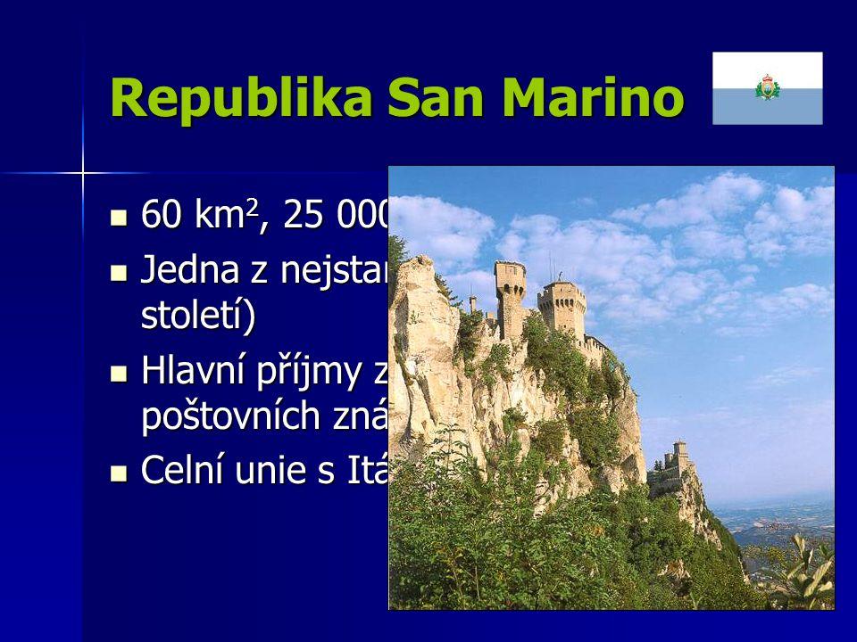 Republika San Marino 60 km2, 25 000 obyvatel