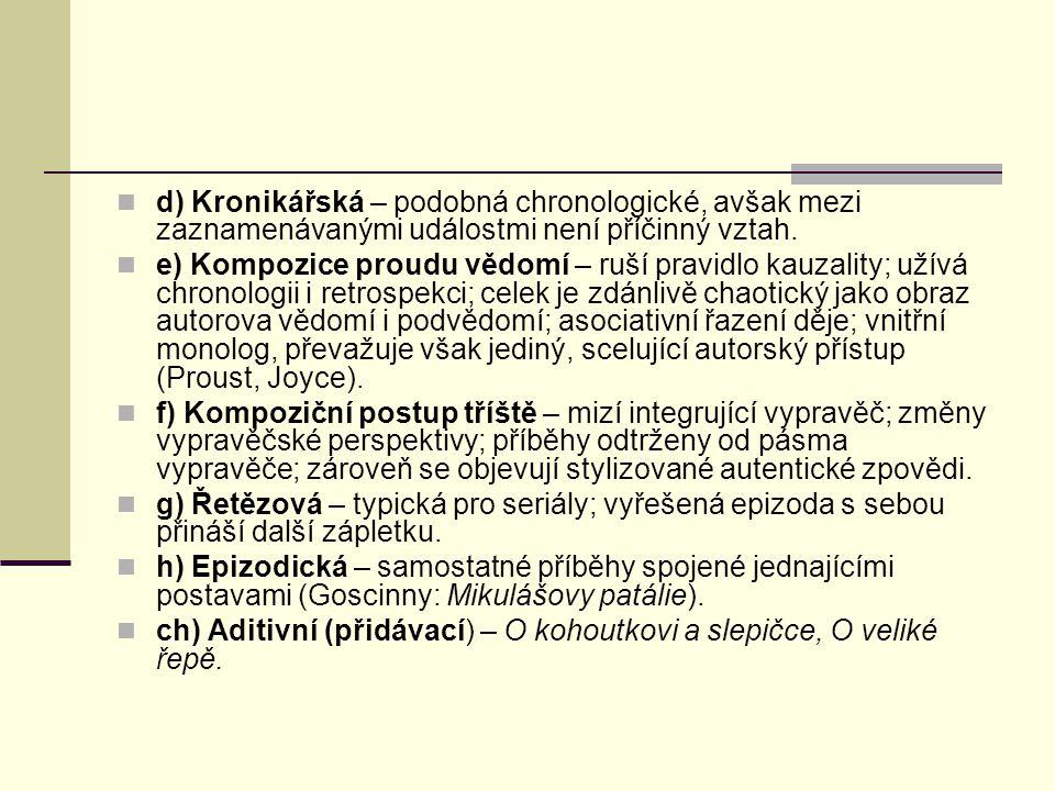d) Kronikářská – podobná chronologické, avšak mezi zaznamenávanými událostmi není příčinný vztah.