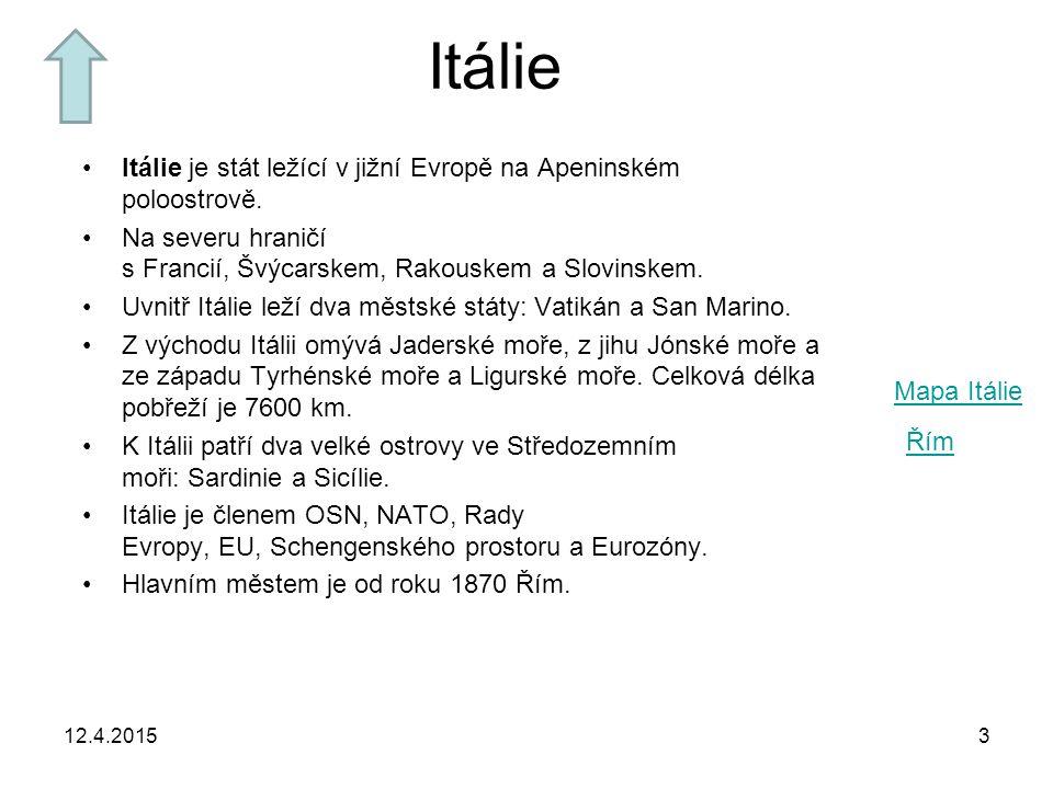 Itálie Itálie je stát ležící v jižní Evropě na Apeninském poloostrově.