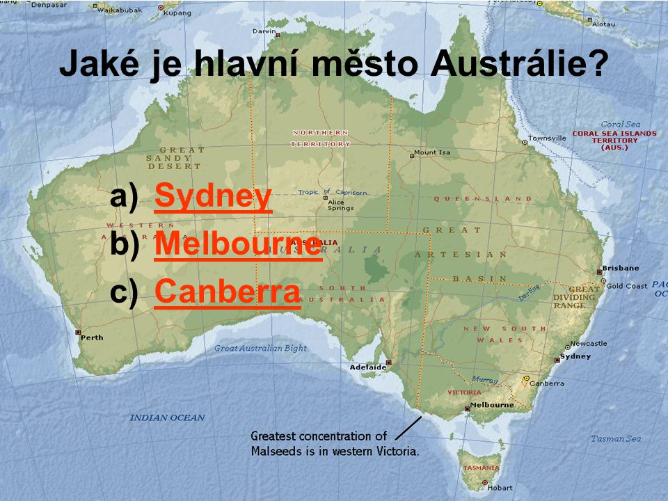 Jaké je hlavní město Austrálie