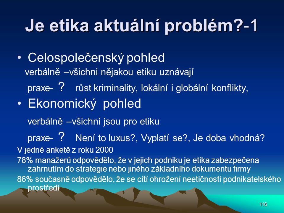 Je etika aktuální problém -1