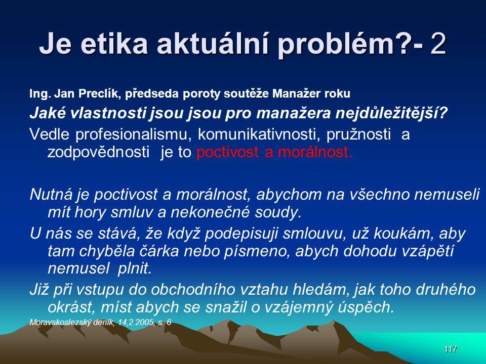 Je etika aktuální problém - 2