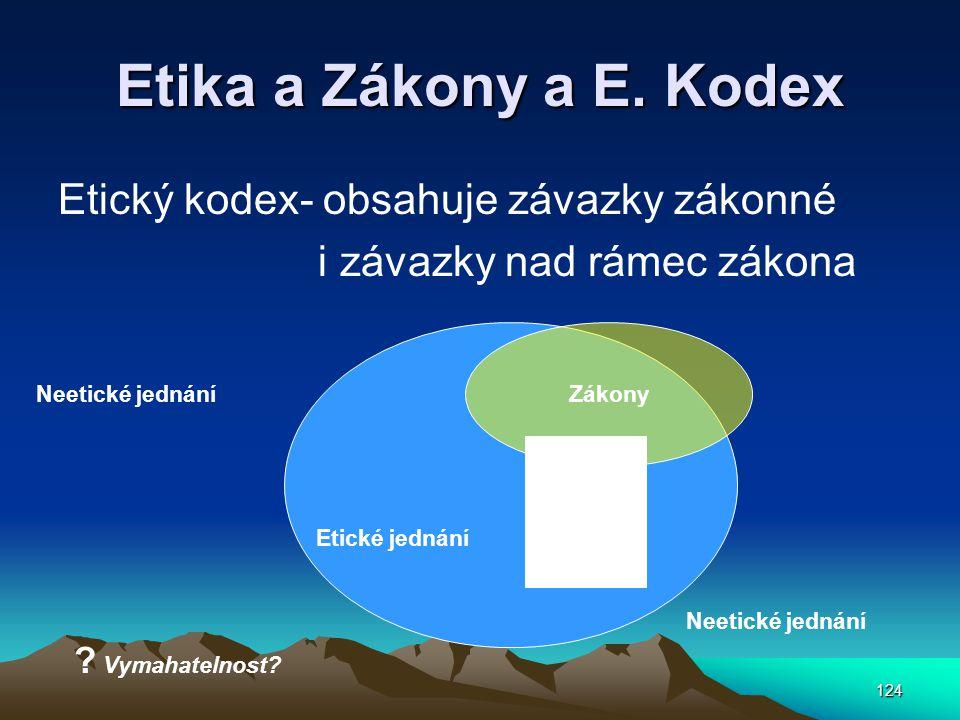 Etika a Zákony a E. Kodex Etický kodex- obsahuje závazky zákonné