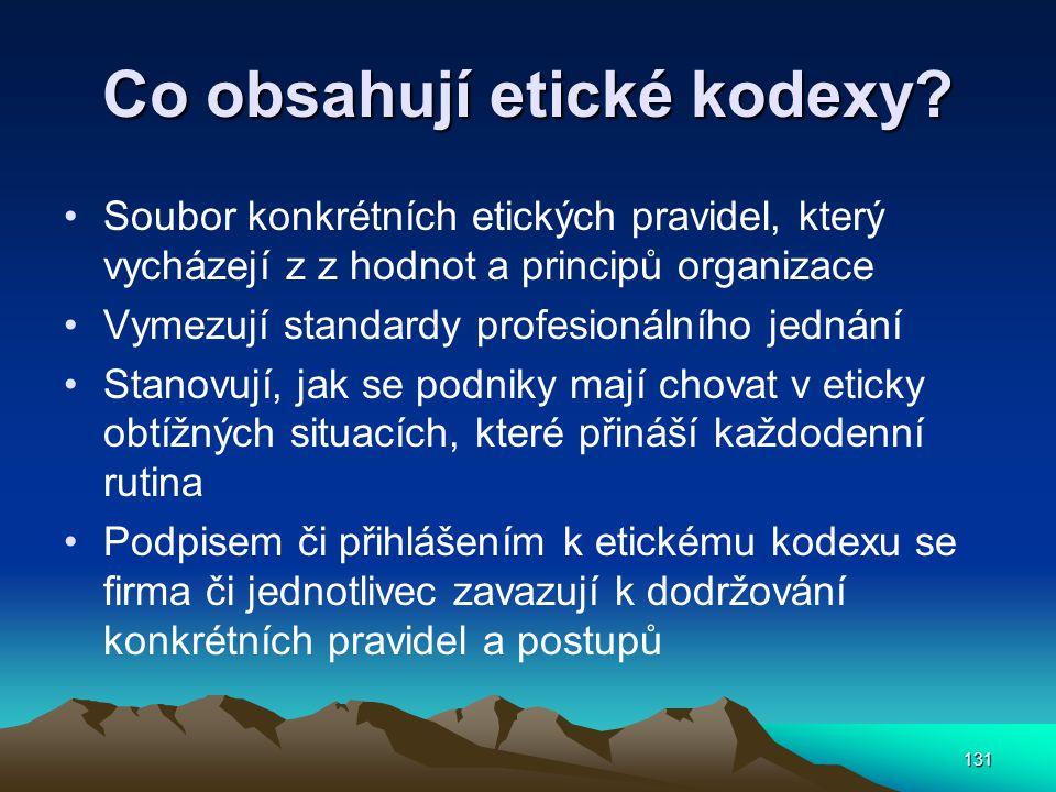 Co obsahují etické kodexy