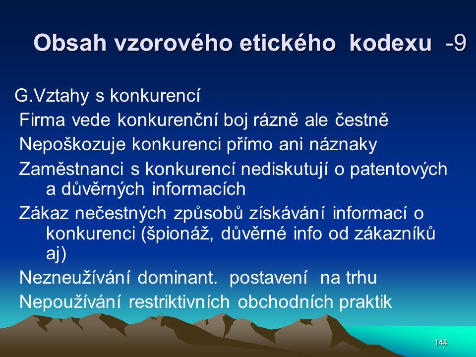 Obsah vzorového etického kodexu -9