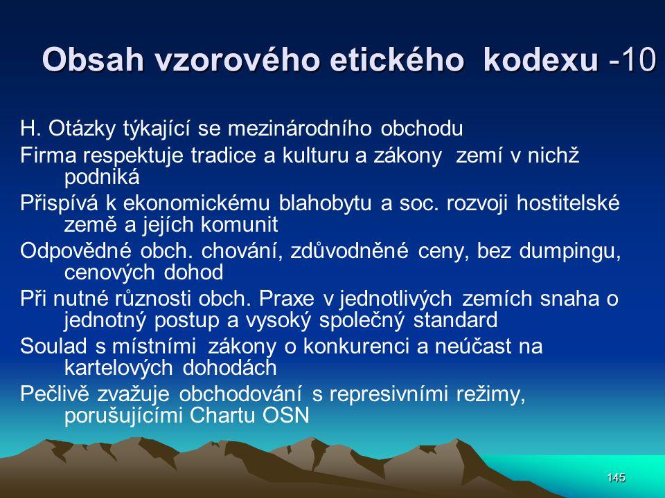 Obsah vzorového etického kodexu -10