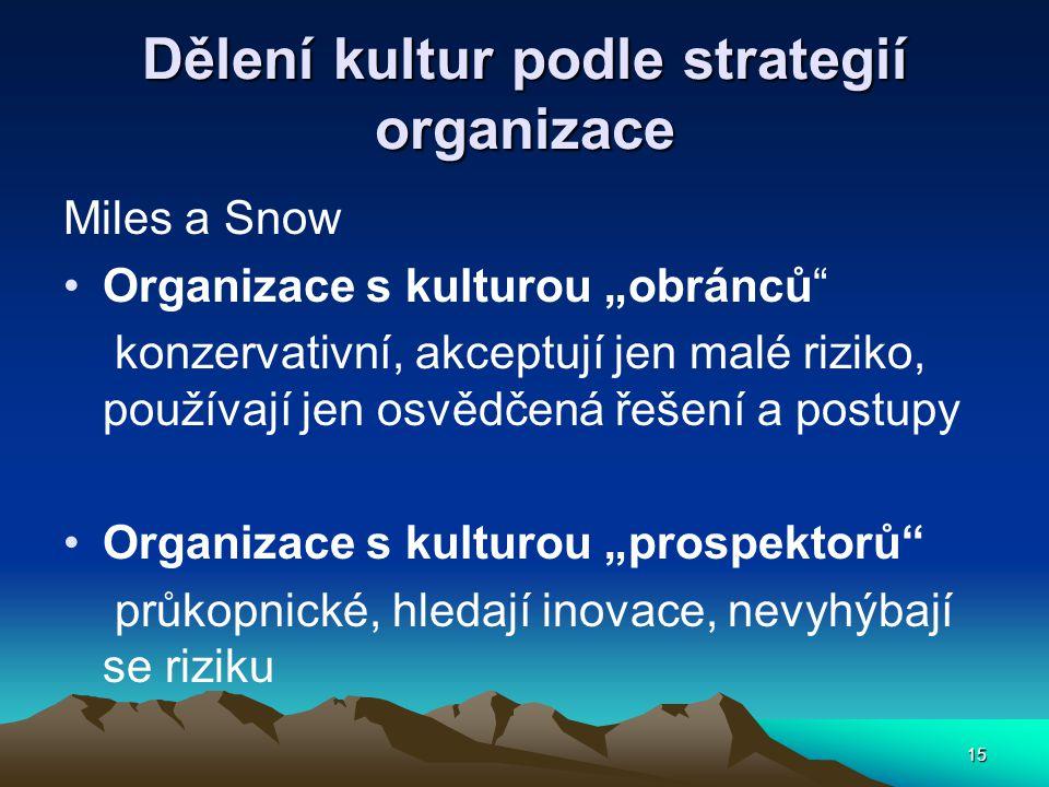 Dělení kultur podle strategií organizace