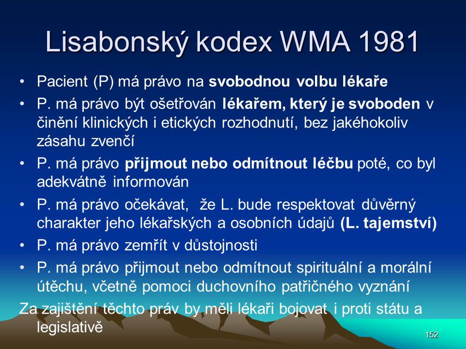 Lisabonský kodex WMA 1981 Pacient (P) má právo na svobodnou volbu lékaře.
