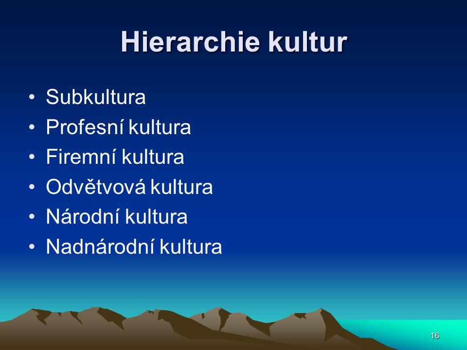 Hierarchie kultur Subkultura Profesní kultura Firemní kultura