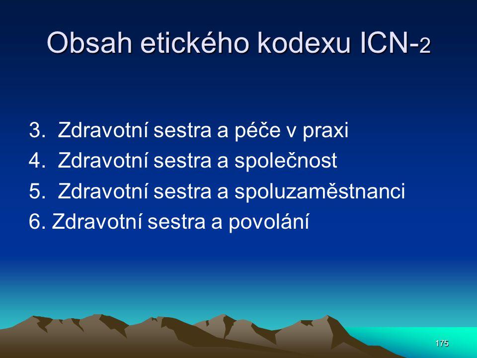 Obsah etického kodexu ICN-2
