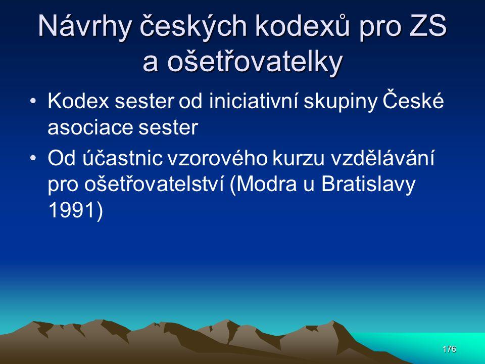 Návrhy českých kodexů pro ZS a ošetřovatelky
