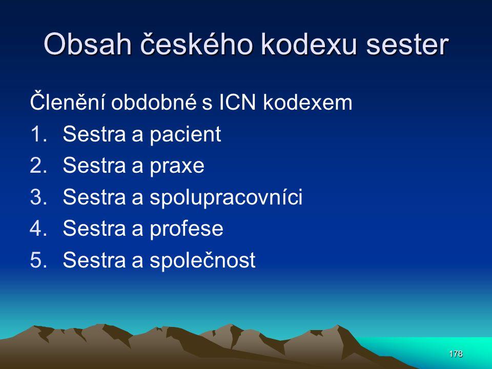 Obsah českého kodexu sester