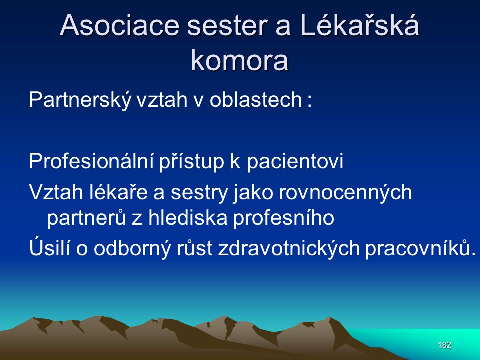Asociace sester a Lékařská komora