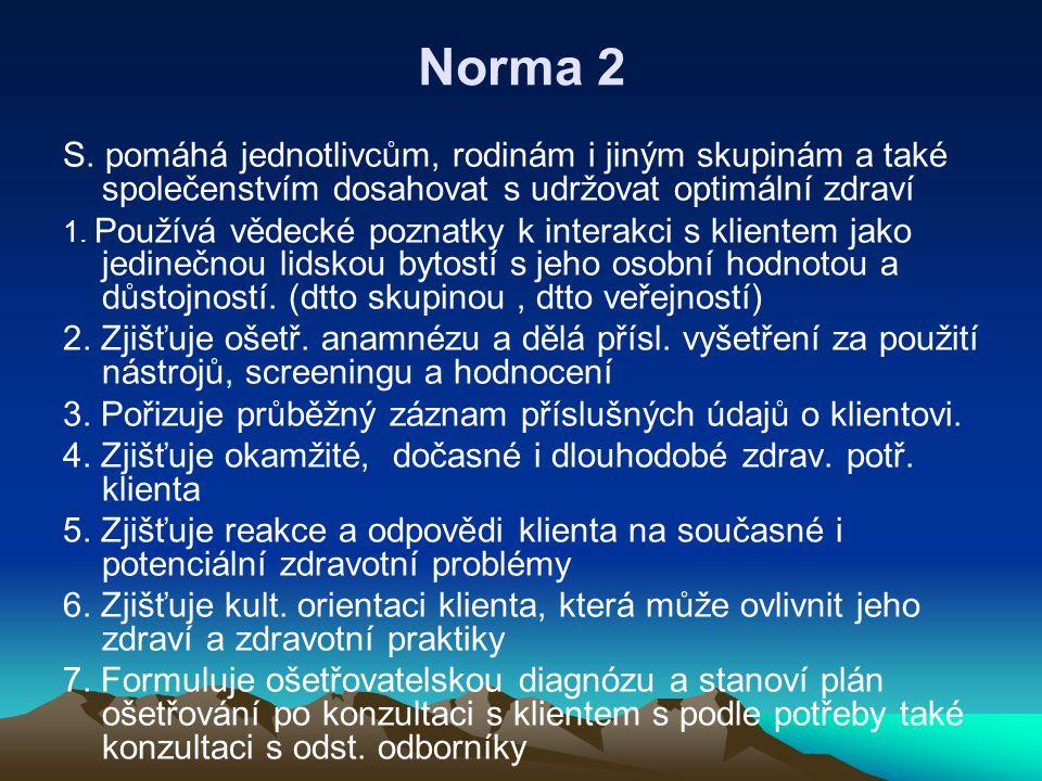 Norma 2 S. pomáhá jednotlivcům, rodinám i jiným skupinám a také společenstvím dosahovat s udržovat optimální zdraví.