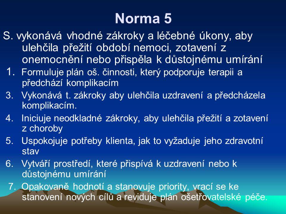 Norma 5 S. vykonává vhodné zákroky a léčebné úkony, aby ulehčila přežití období nemoci, zotavení z onemocnění nebo přispěla k důstojnému umírání.