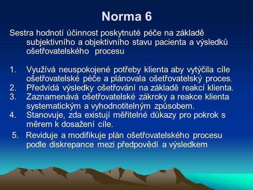 Norma 6 Sestra hodnotí účinnost poskytnuté péče na základě subjektivního a objektivního stavu pacienta a výsledků ošetřovatelského procesu.