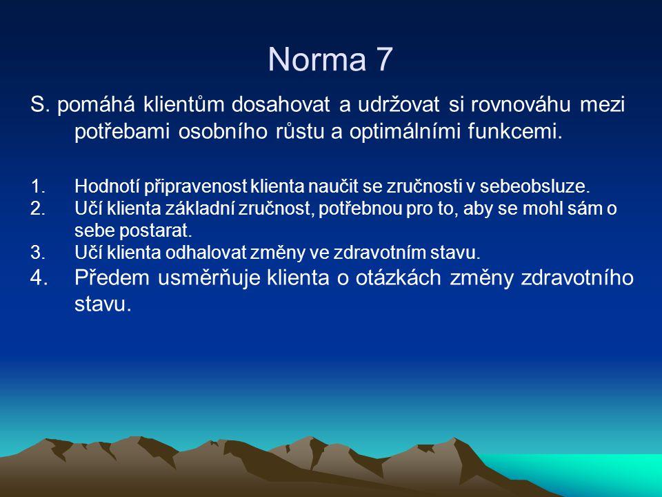 Norma 7 S. pomáhá klientům dosahovat a udržovat si rovnováhu mezi potřebami osobního růstu a optimálními funkcemi.