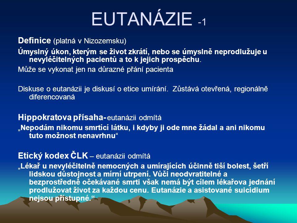 EUTANÁZIE -1 Definice (platná v Nizozemsku)