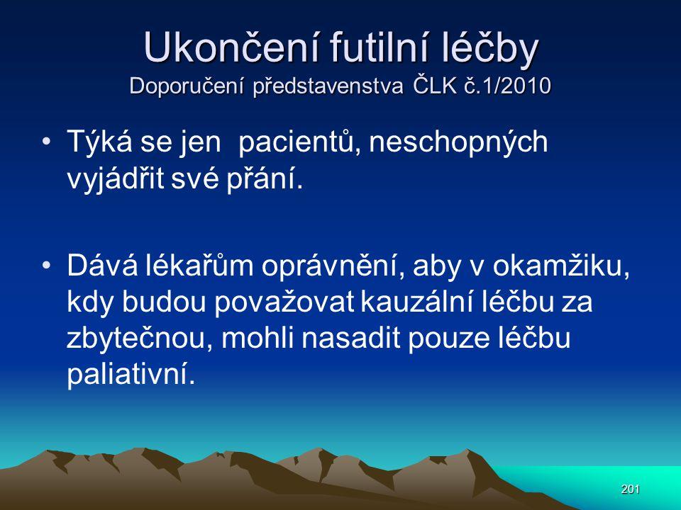 Ukončení futilní léčby Doporučení představenstva ČLK č.1/2010
