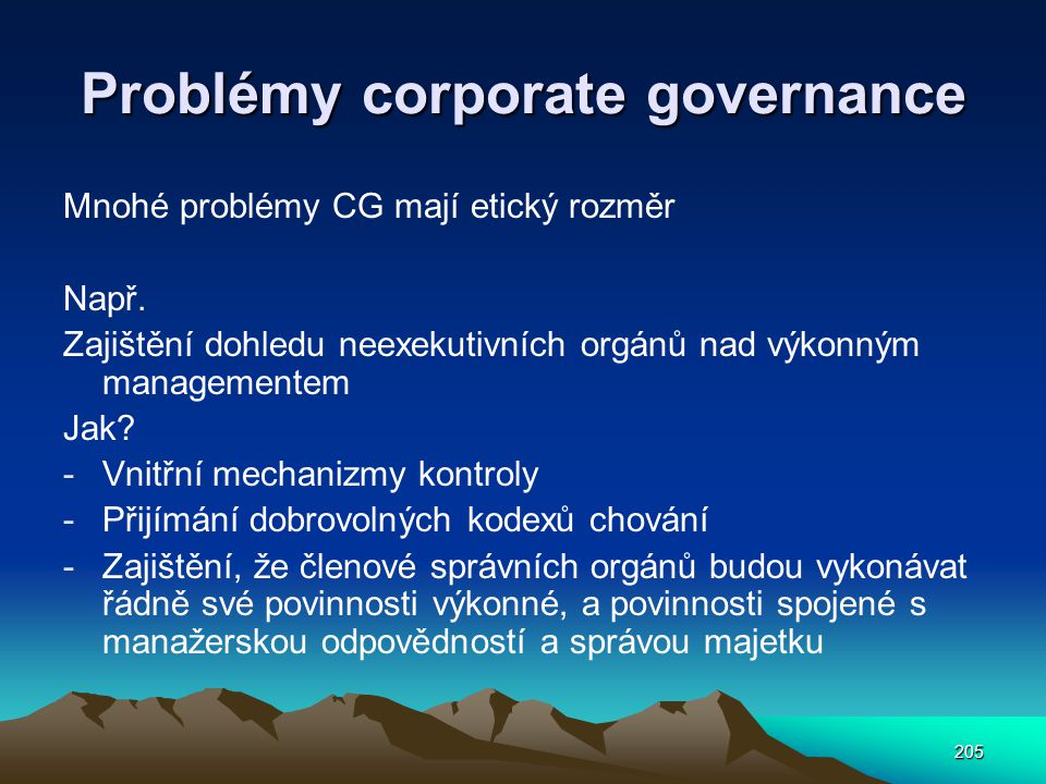 Problémy corporate governance