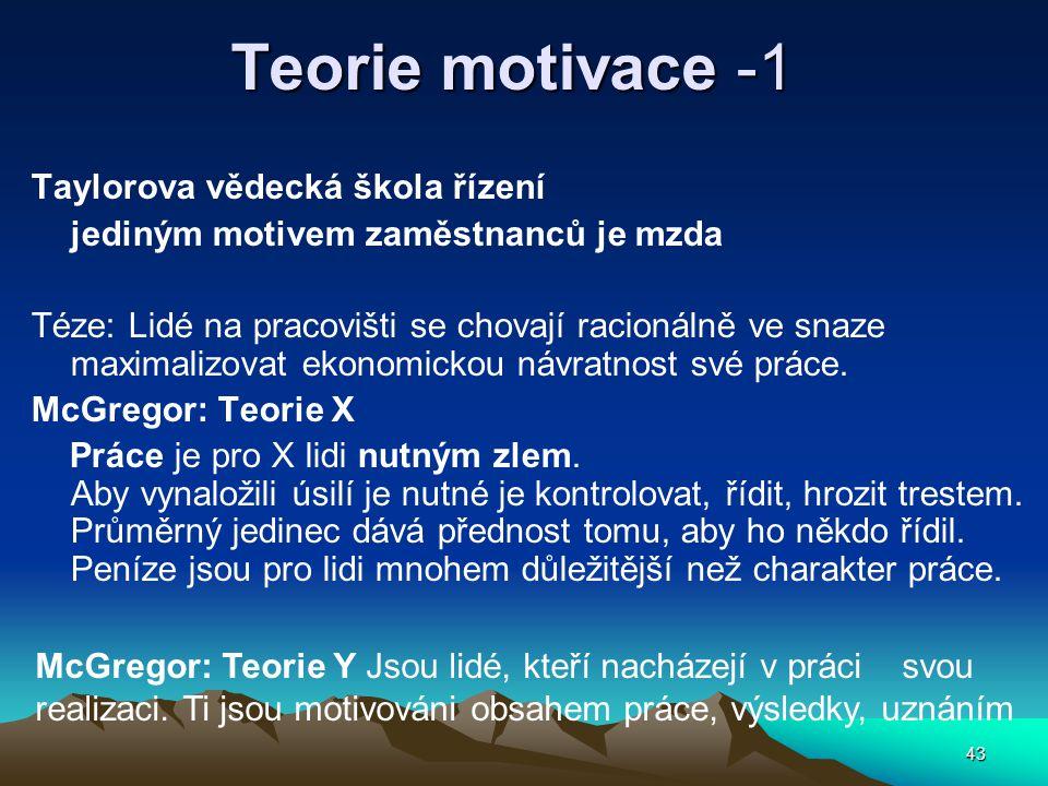 Teorie motivace -1 Taylorova vědecká škola řízení
