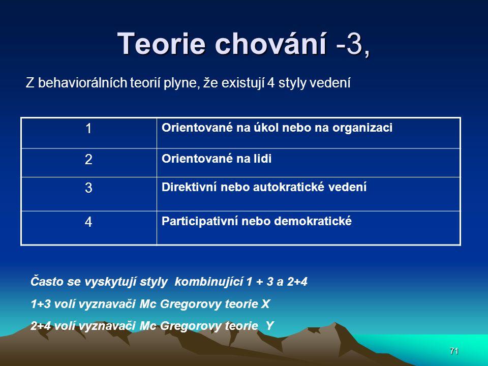 Teorie chování -3, Z behaviorálních teorií plyne, že existují 4 styly vedení. 1. Orientované na úkol nebo na organizaci.