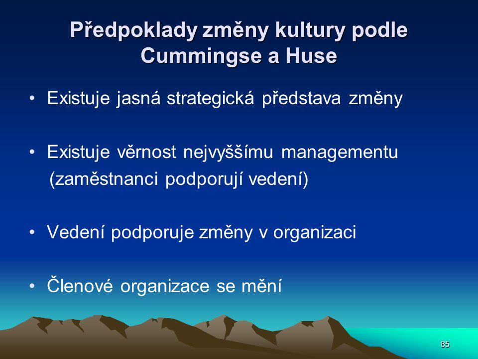 Předpoklady změny kultury podle Cummingse a Huse