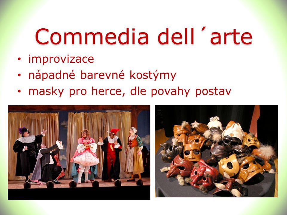 Commedia dell´arte improvizace nápadné barevné kostýmy
