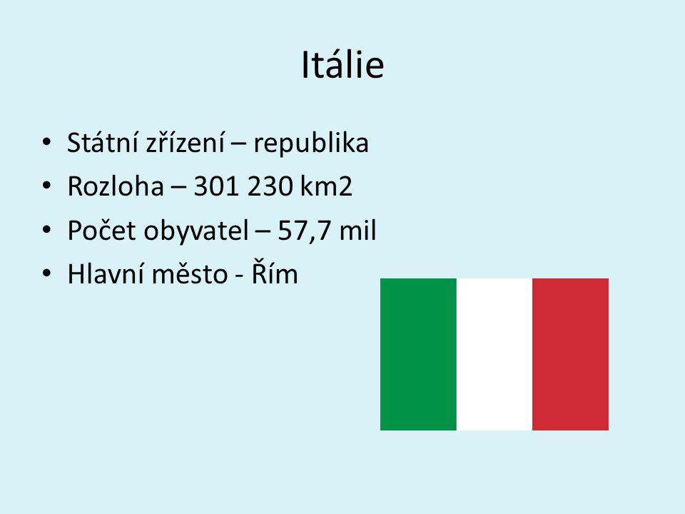 Itálie Státní zřízení – republika Rozloha – 301 230 km2