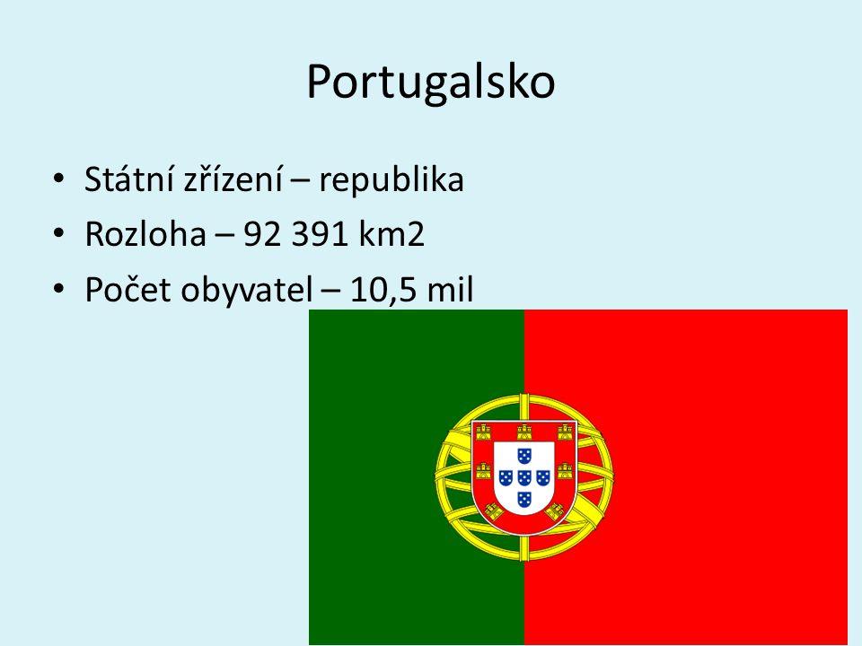 Portugalsko Státní zřízení – republika Rozloha – 92 391 km2