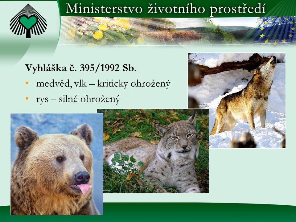 Vyhláška č. 395/1992 Sb. medvěd, vlk – kriticky ohrožený rys – silně ohrožený