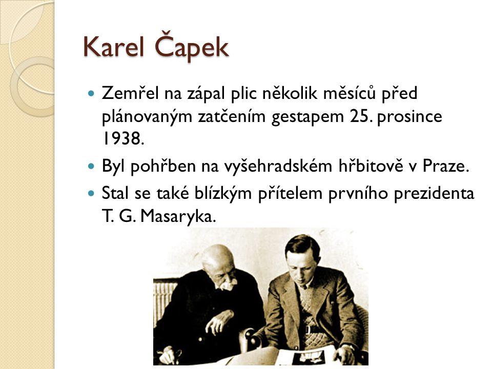 Karel Čapek Zemřel na zápal plic několik měsíců před plánovaným zatčením gestapem 25. prosince 1938.