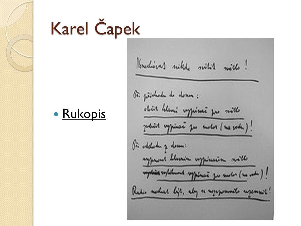 Karel Čapek Rukopis