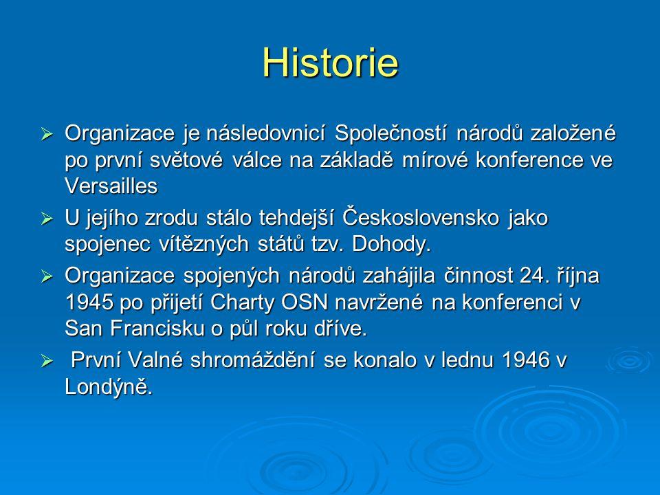 Historie Organizace je následovnicí Společností národů založené po první světové válce na základě mírové konference ve Versailles.