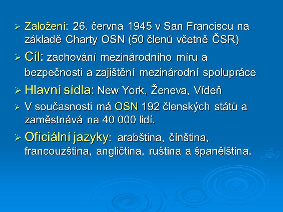 Hlavní sídla: New York, Ženeva, Vídeň