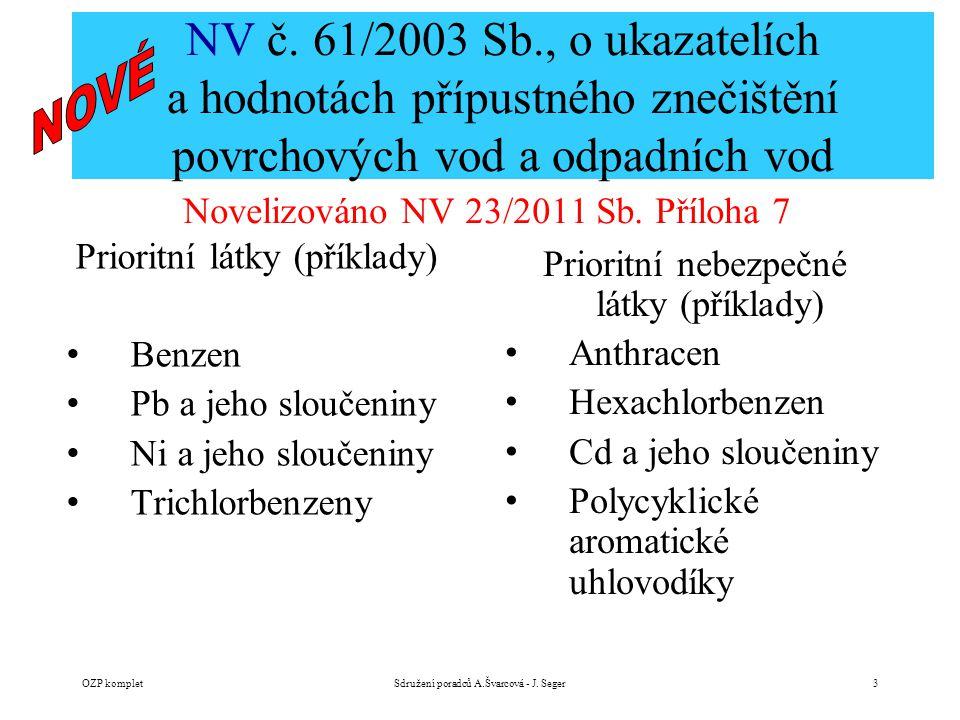 NV č. 61/2003 Sb., o ukazatelích a hodnotách přípustného znečištění povrchových vod a odpadních vod