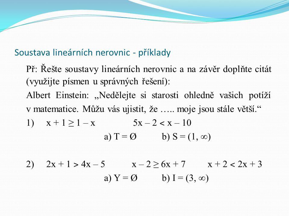 Soustava lineárních nerovnic - příklady